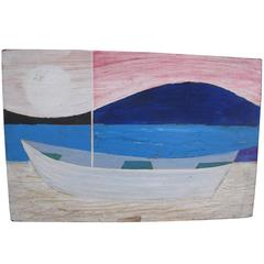 Robert Blanchard Boat Painting, Oil on Board