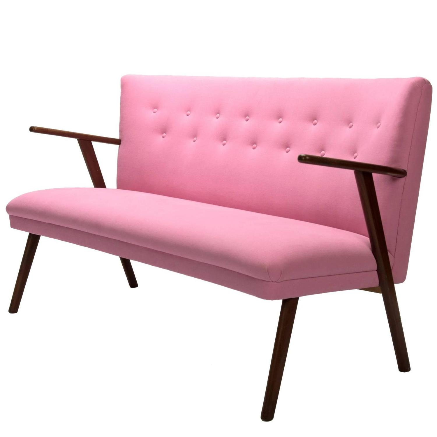 pink cocktail sofa swedish mid century modern design. Black Bedroom Furniture Sets. Home Design Ideas