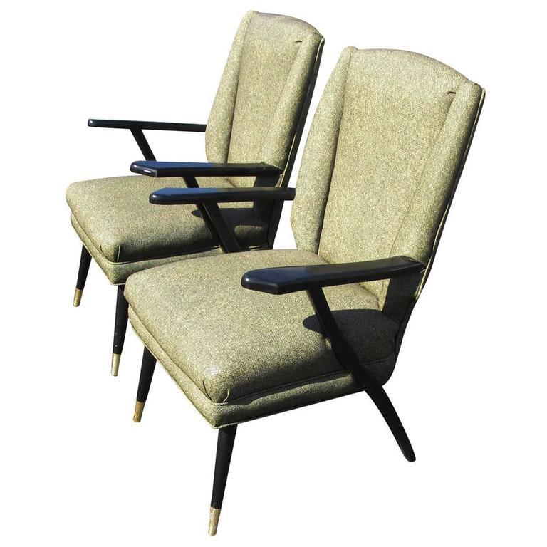 Vintage Midcentury Pair of Italian Style Lounge Chairs