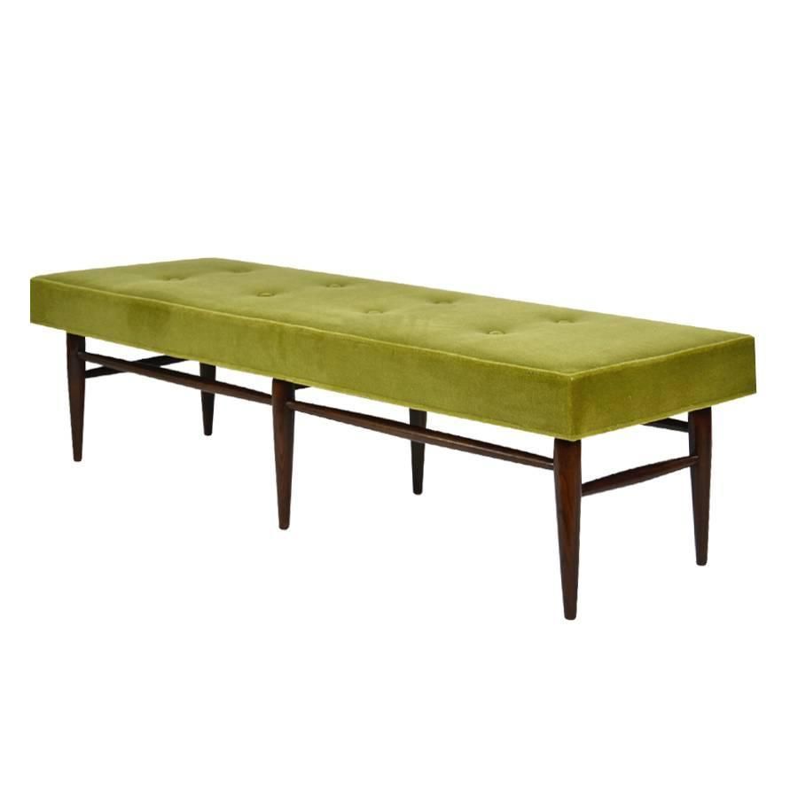 Mid century modern bench in chartreuse mohair for sale at