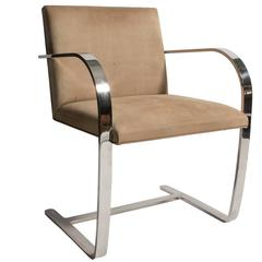 Brno Chair with Original Suede Upholstery and Chrome Frame by Mies van der Rohe