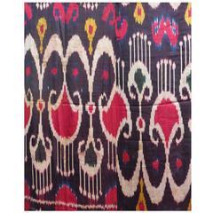 Antique Uzbek or Tadjik Silk Satin Ikat Panel, Central Asia, 19th Century