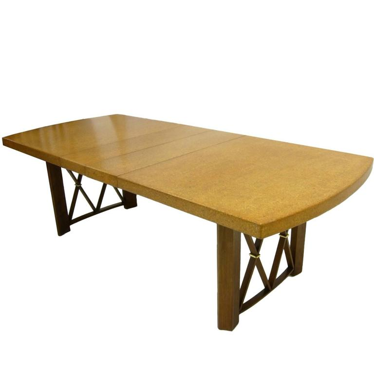 Stunning Paul Frankl Cork Top Dining Table by Johnson Furniture Company For Sale