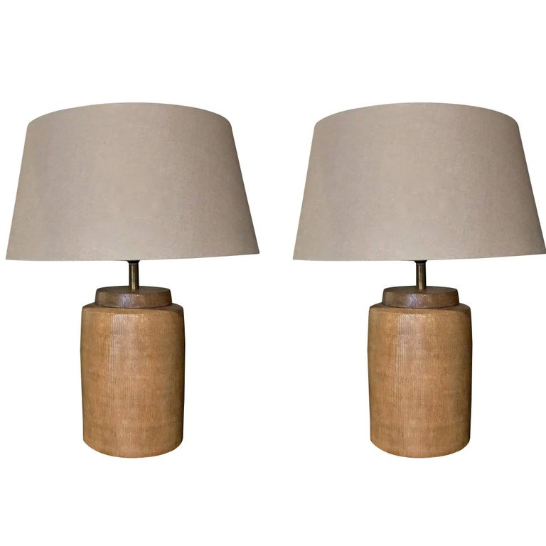 Contemporary Pair Of Porcelain Lamps, Gold Basket Weave Design, China For Sale
