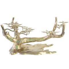 Willy Daro Bonsai Tree Coffee Table in Brass