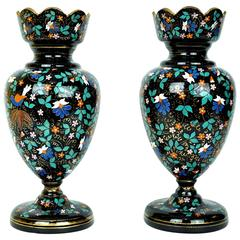 Pair of Moser Enameled Glass Vases with Bird and Flower Decorations