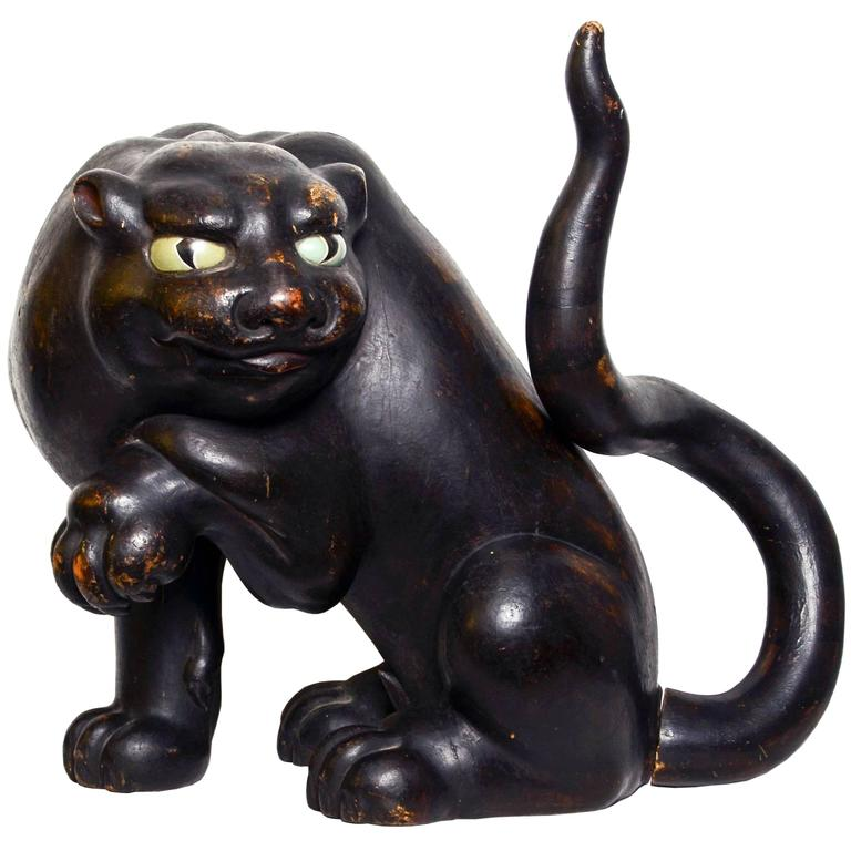 Antique japanese sculpture of a tiger th century for