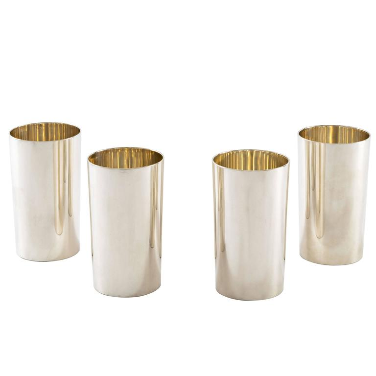 Four Perfectly Modern Tiffany Sterling Silver Tumblers At