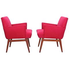 Pair of New Upholstered Midcentury Armchairs with Oak Base, USA, 1950s