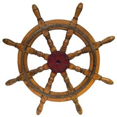 19th Century French Painted Fruitwood Sailboat Wheel