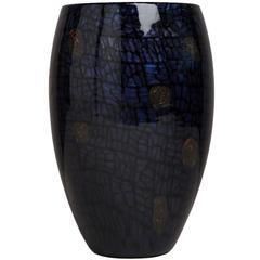 Vittorio Ferro Glass Vase with Aventurine Detail, 1990s