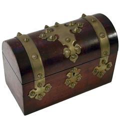 19th Century Domed Walnut File Box