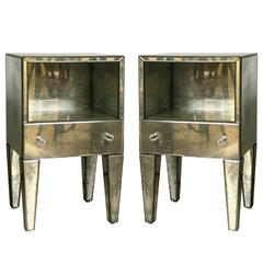 Pair of Petite Antiqued Mirrored Nightstands/Side Tables