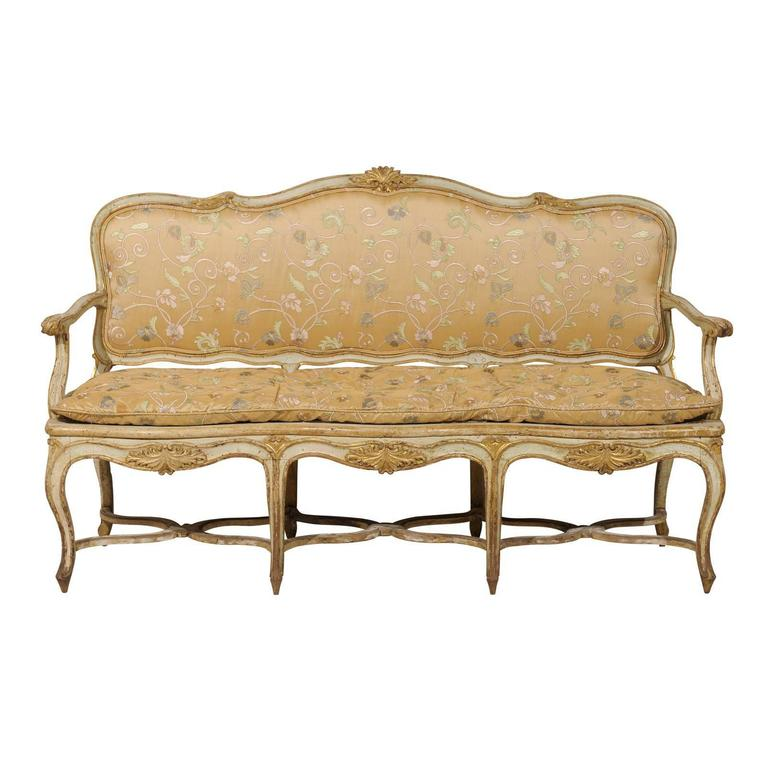 french 18th century sofa canap with original paint at. Black Bedroom Furniture Sets. Home Design Ideas