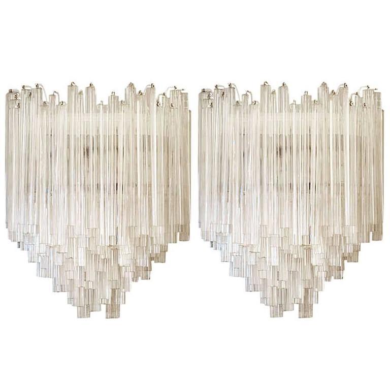 Large Pair of Venini Murano Glass Sconces
