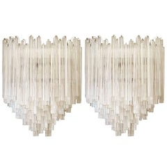 Large Pair of Venini Murano Glass Sconces