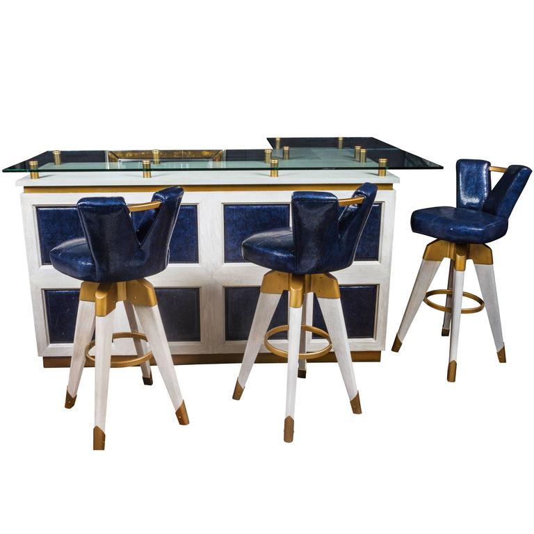 Custom Bar And Stools By Patrick Dragonette For Sale At