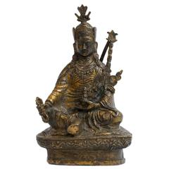 19th Century Tibetan Gilt Bronze and Hardstone Figure of Deity