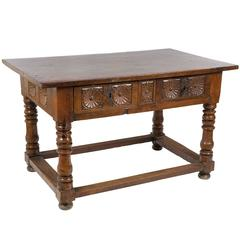17th Century Spanish Carved Walnut Table from Navarre