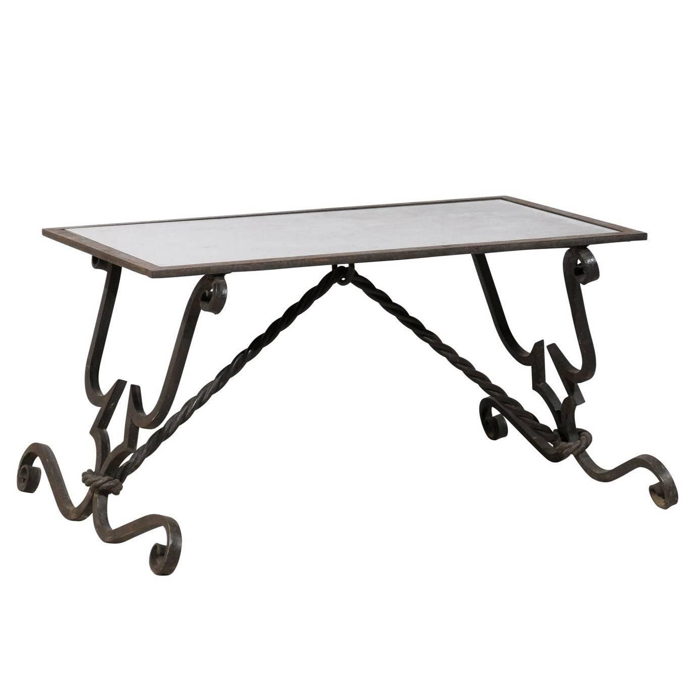 French vintage wrought iron base coffee table for sale at 1stdibs Wrought iron coffee tables
