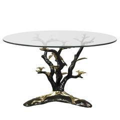 Vintage Cast Bronze Gilded Tree Form Coffee Table in the Style of Willy Daro