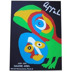 Karel Appel New Old Stock Lithograph Poster, Galerie Ariel,  Paris, 1974