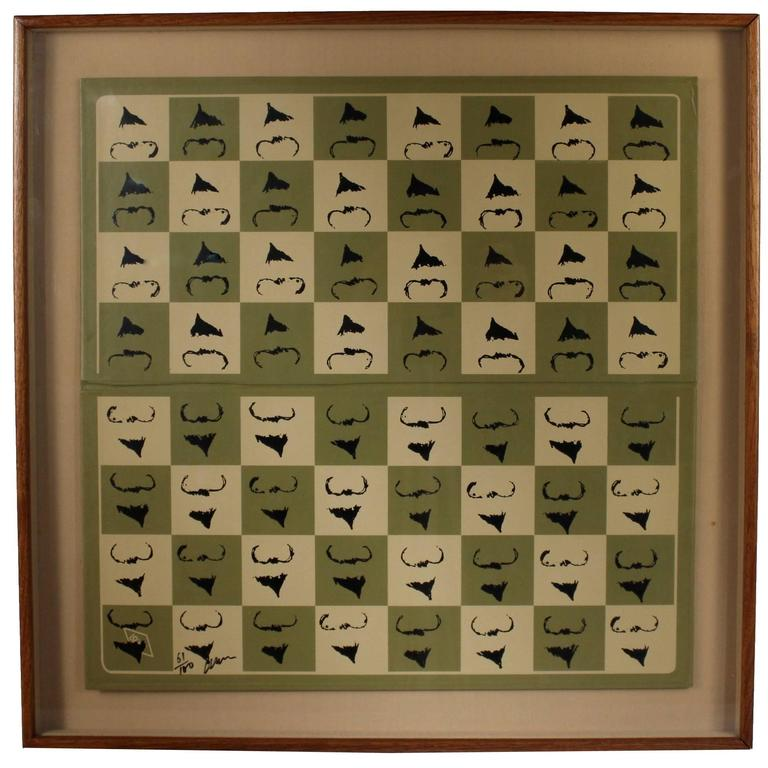 "Chessboard ""Homaage á Marcel Duchamp"" with the L.H.O.O.Q. Mustache by Arman For Sale"