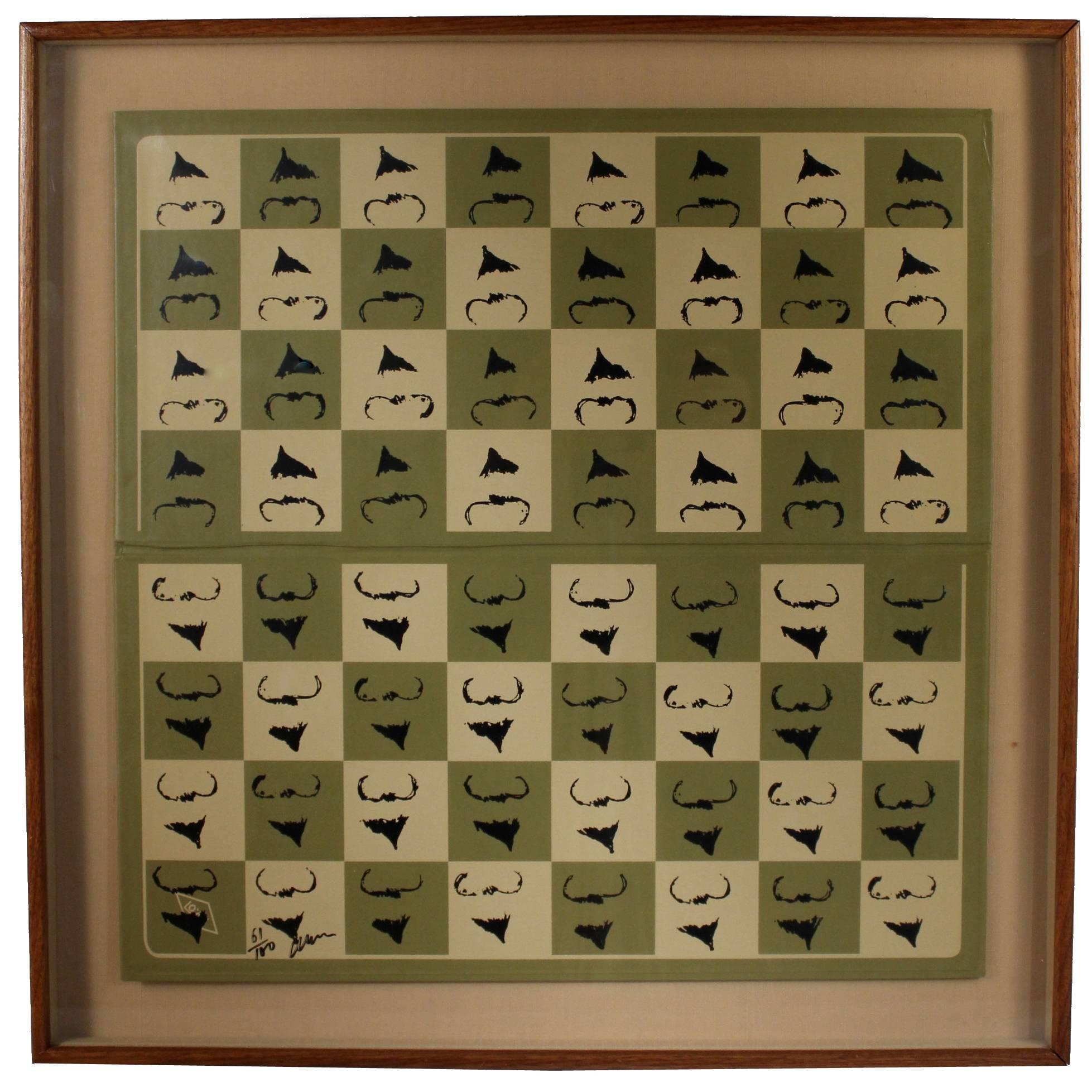 """Chessboard """"Homaage á Marcel Duchamp"""" with the L.H.O.O.Q. Mustache by Arman"""