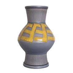Large Scandinavian Modern Ceramic Vase with Bold Pattern by Ewald Dahlskog