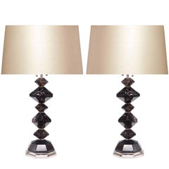 Pair of Dark Diamond Rock Crystal Quartz Lamps