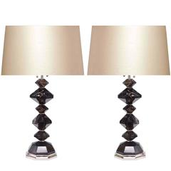 Pair of Dark Diamond Rock Crystal Quartz Lamps