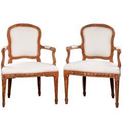 Pair of 18th Century Beech Louis XVI Chairs