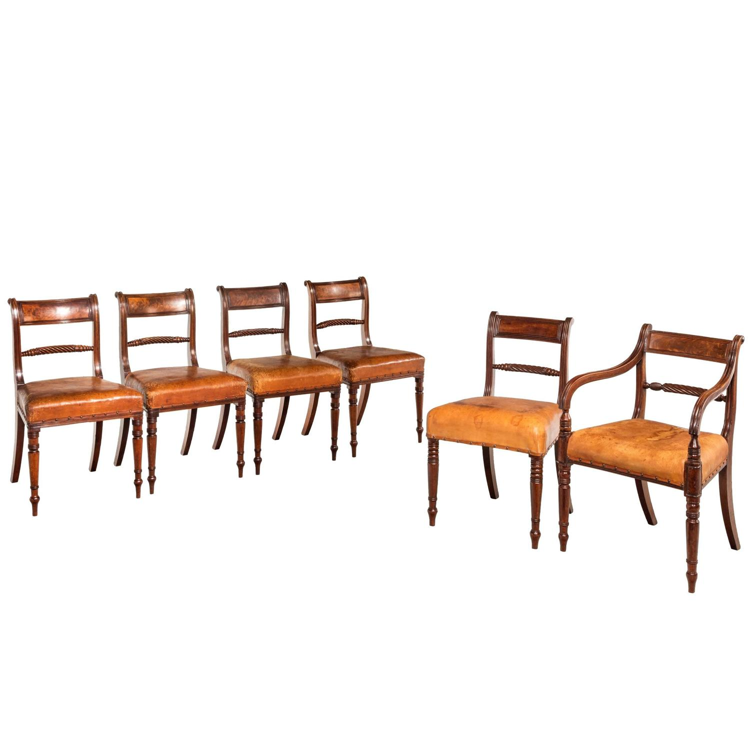 Set Of Six Regency Period Dining Chairs At 1stdibs