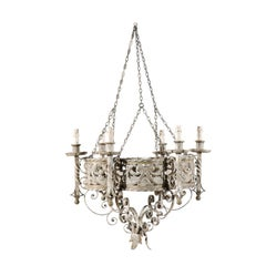 Italian Vintage Painted Iron Six-Light Chandelier