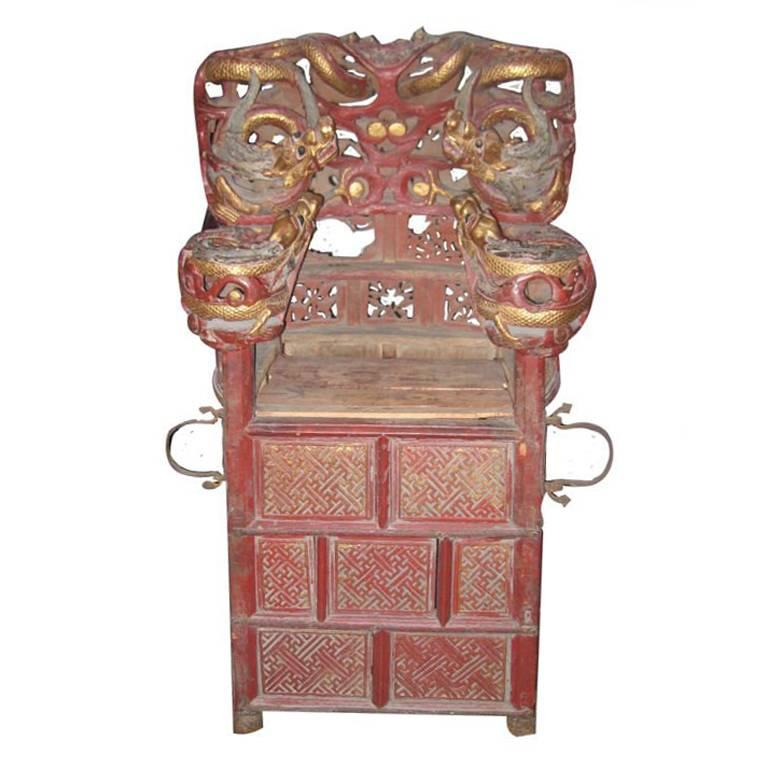 Intricately Carved Chinese Sedan Chair with Intertwined Dragons 1