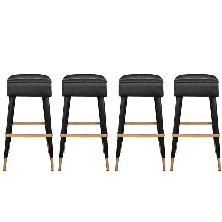 Set Of Four Chic Bar Stools With Brass Sabots And