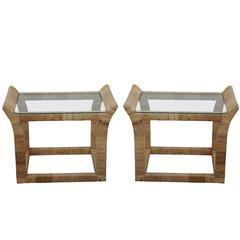 Pair of Rattan Wrapped Glass Top Side Tables, Bahama Style