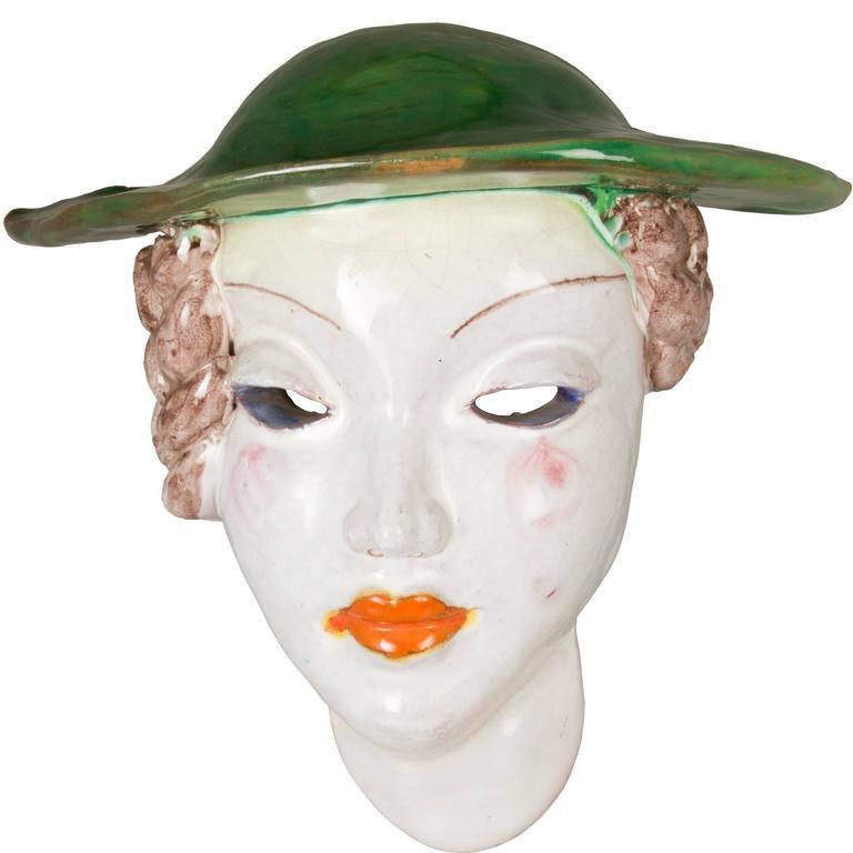 Austrian Art Deco Ceramic Women With Green Hat At 1Stdibs-3617