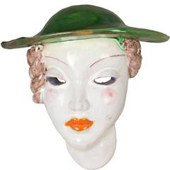 Austrian Art Deco Ceramic Women with Green Hat