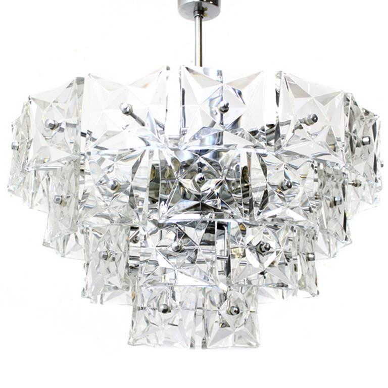 Kinkeldey Crystal Glass and Chrome Four-Tier Chandelier, Germany, 1970s For Sale