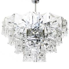 Kinkeldey Crystal Glass and Chrome Four-Tier Chandelier, Germany, 1970s