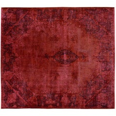 Vintage Persian Overdyed Red Rug