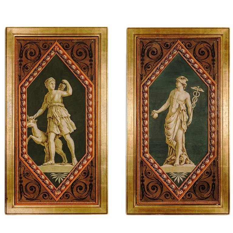 Pair of French Hand Blocked Wallpaper Panels Depicting Greek Gods For Sale