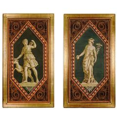 Pair of French Woodblock Printed Wallpaper Panels Depicting Greek Gods