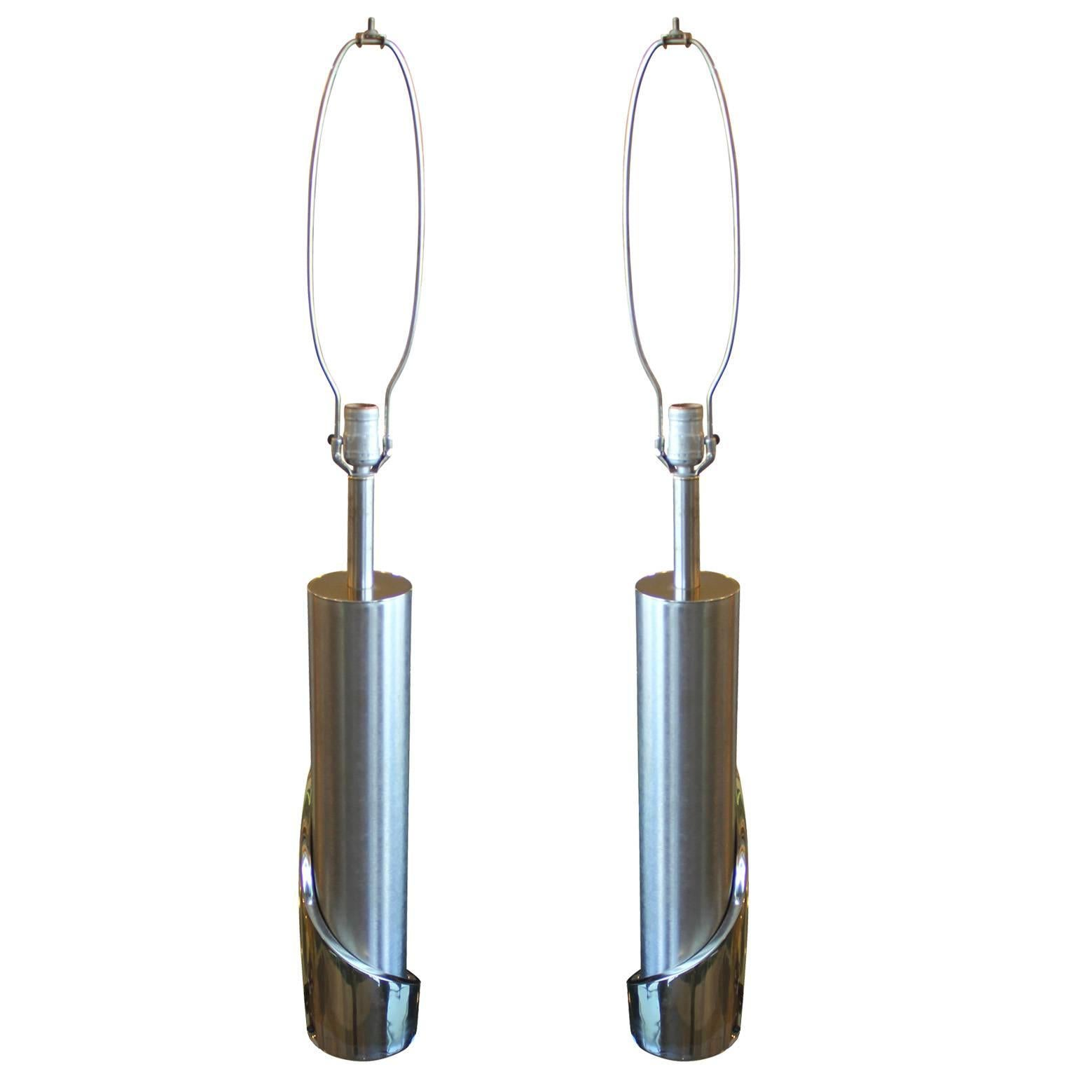 Pair of Modern Cylindrical Chrome Laurel Lamps