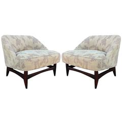 Elegant Pair of Low Profile Slipper Lounge Chairs