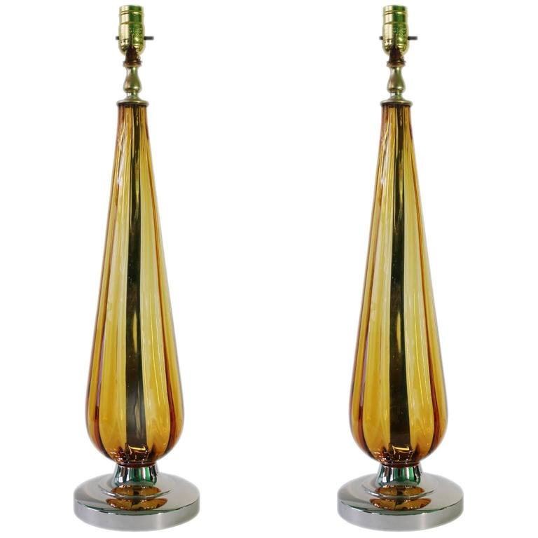 Mid Century Standard Lamp: Mid-Century Pair Of Italian Amber Murano Glass Table Lamps