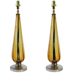 Mid-Century Pair of Italian Amber Murano Glass Table Lamps