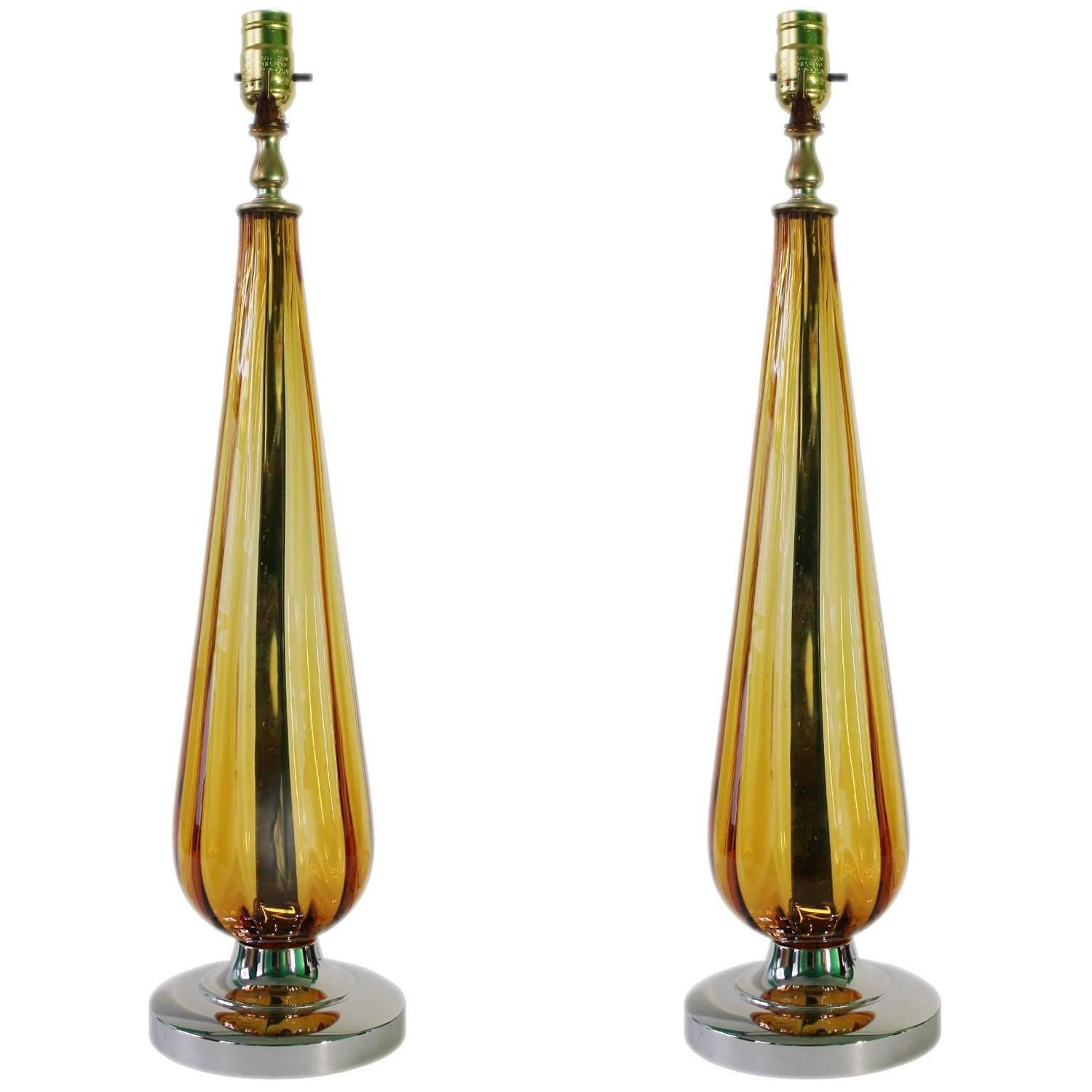 mid century pair of italian amber murano glass table lamps. Black Bedroom Furniture Sets. Home Design Ideas