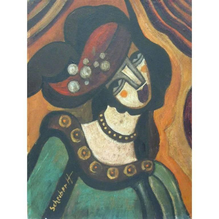Portrait 'Woman with Tilted Head' Signed Hugo Scheiber For Sale